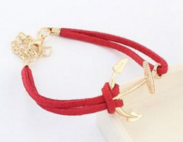 New Antique Friendship anchor Charm red Leather Bracelet