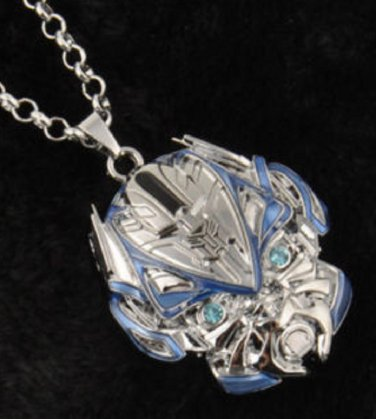 New fashion movie Transformers Robot silver blue pendant necklace