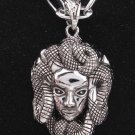 new Antique 316L Stainless Steel Snake serpent head charm pendant necklace free shipping