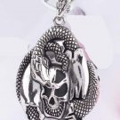 new Antique 316L Stainless Steel Snake serpent SKULL head charm pendant necklace free shipping