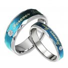 Fashion titanium Stainless steel set couple love devotion blue RINGS FOR HIM AND HER FREE SHIPPING