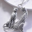 New fashion Unique Silver plated Couple Leopard Cheetah Pendant necklace