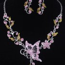 New fashion Pink butterfly flower necklace earrings set free shipping