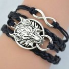 New Antique Friendship Infinity Wolf Charm Leather Multilayer Bracelet
