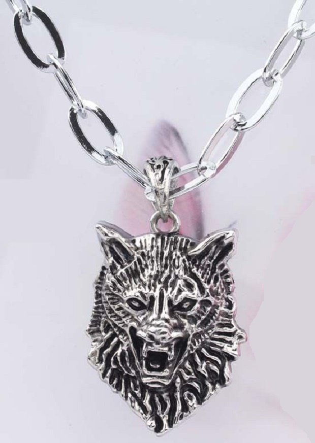 new Antique 316L Stainless Steel Head Wolf charm pendant necklace free shipping