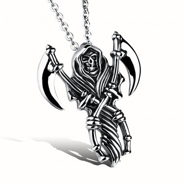 New Fashion 316L Stainless steel Skeleton Rock Punk Skull Pendant necklace free shipping