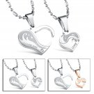 Fashion 316L Stainless steel couple Puzzle Heart love for him and her necklace FREE shipping