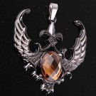 New fashion 316L Stainless Steel Amber color Crystal Wing Pendant free shipping