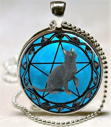 New Fashion Pentagram Wicca Black cat charm Unisex Pendant Silver color Necklace free shipping