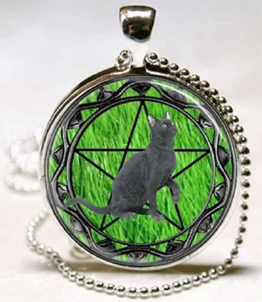 New Fashion Pentagram Wicca Black cat Stereoscopic charm Unisex Pendant Silver color Necklace