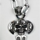 new Antique 316L Stainless Steel Sword Cross Skull head charm pendant necklace free shipping