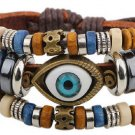 New Handmade Leather charm blue evil eye Wood bead cuff bracelet