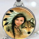 New Fashion Native American Women Wolf Stereoscopic charm Unisex Pendant Silver color Necklace