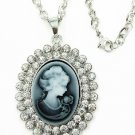 Vintage style Cameo Crystal Pendant long Necklace