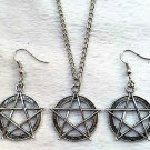 New Magic Wicca Pentacle charm Pendant Necklace Earrings set