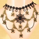 Unique Halloween Lace Spider Charm Web Multi layer Choker necklace