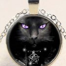 Adorable Unique Wicca Black Cat charm Stereoscopic Unisex silver color Pendant Necklace
