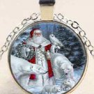 New Pretty Christmas Santa Owl Stereoscopic charm Unisex silver color  Chain Pendant Necklace