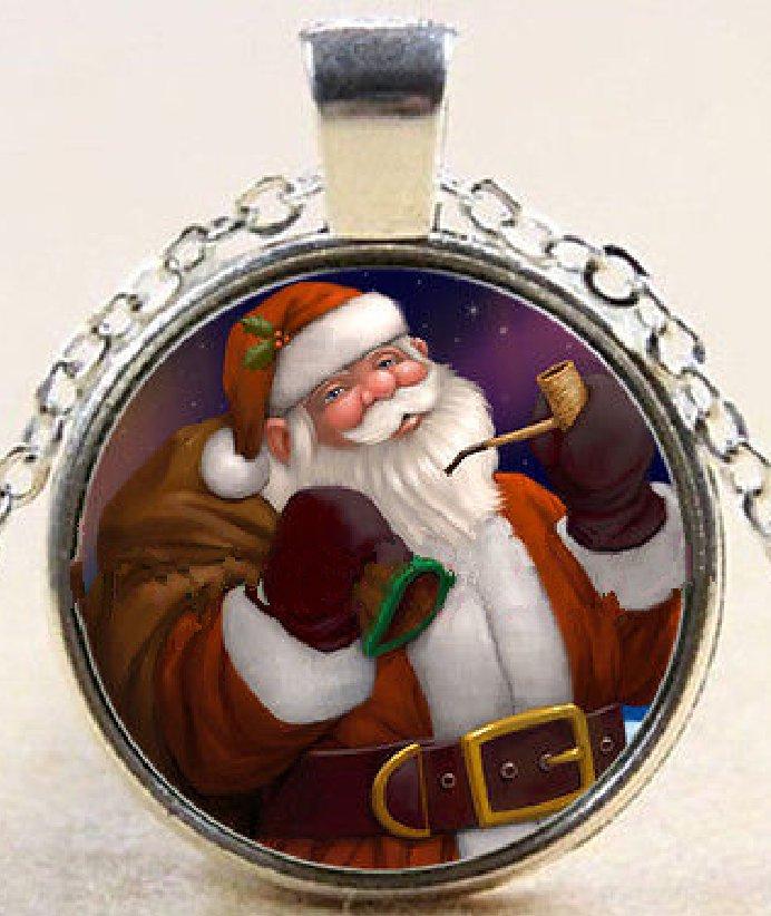 New Pretty Spirit Christmas Santa Stereoscopic charm Unisex silver color  Chain Pendant Necklace