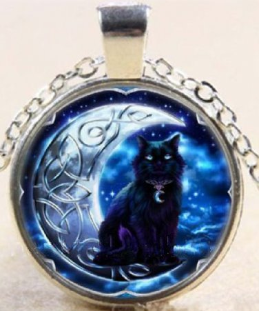 Adorable Black Cat on Celtic Moon charm Stereoscopic Unisex silver color Pendant Necklace