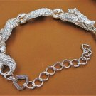 Adorable Carved Shiny 925 Silver Dragon chain Bangle Bracelet