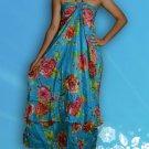 272 Boho Halter Floral Print Blue Turquoise Maxi Sundress
