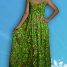 013 Boho Smock Floral Print Maxi Sundress Green
