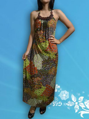 351 Brown Halter Neck Paisley Peacock Printed Maxi Dress