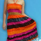 220 Boho Halter Smock Stripe Print Sundress Skirt