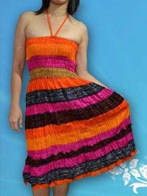 220 Boho Halter Smock Stripe Print Sundress Skirt