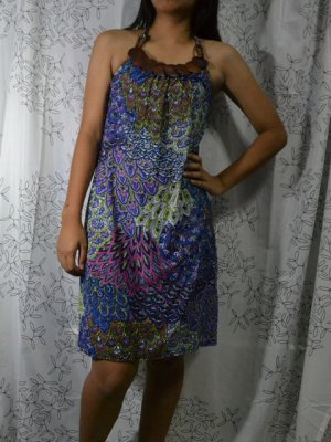 389 Blue Halter Neck Polyester Paisley Printed Tunic Dress