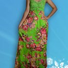 017 Casual Boho Bust Crochet Crinkle Floral Print Maxi dress