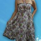 190 Boho White Halter Smock Floral Print Sundress Top Blouse