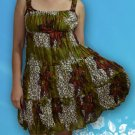 064 Boho Summer beach Scoop neck Floral print sundress Top Blouse