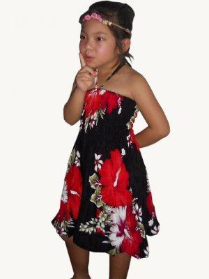 S005 Kids Boho Summer beach Halter Smock Floral Print Sundress Mini Dress