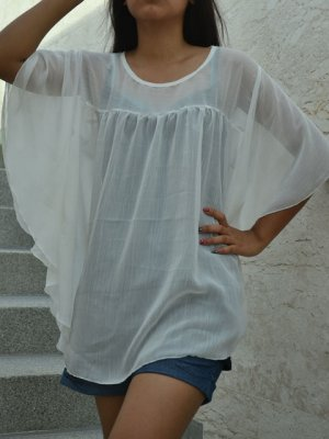 646 White Chiffon Round neckline Kaftan Caftan Kimono Tunic Top