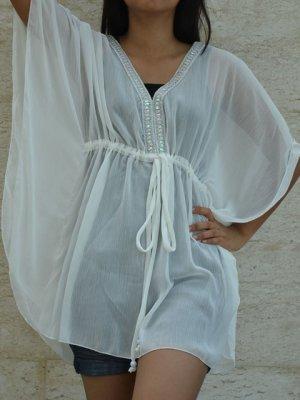 454 White Chiffon Caftan Kaftan Kimono Tunic Cover-ups Top XL