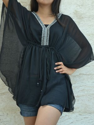 241 Sexy Black Chiffon Caftan Kaftan Kimono Tunic Cover-ups Top XL