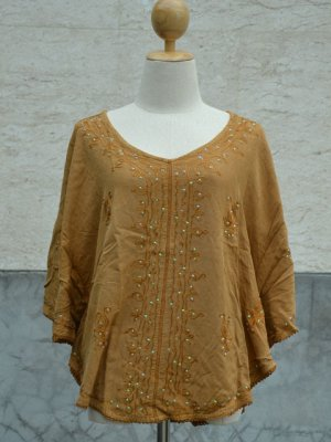 838 Light Brown solid V-Neck Embroidery Kaftan Tunic Top Blouse Cotton S M L XL