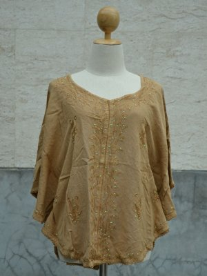 839 Light Brown solid V-Neck Embroidery Kaftan Tunic Top Blouse Cotton S M L XL