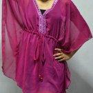 898 Dark pink Chiffon Caftan Kaftan Kimono Tunic Cover-ups Top XL