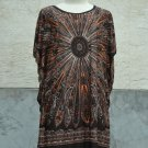 846 Brown Round-Neckline Polyester Kimono Kaftan Caftan Cover-up Tunic Top