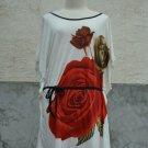 847 Floral Print V-Neckline Polyester Kimono Kaftan Caftan Cover-up Tunic Top