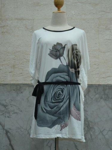 848 Floral Print V-Neckline Polyester Kimono Kaftan Caftan Cover-up Tunic Top