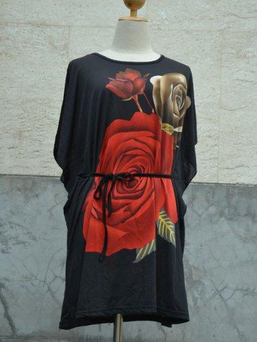 849 Floral Print V-Neckline Polyester Kimono Kaftan Caftan Cover-up Tunic Top