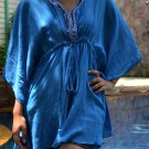 3013 Blue Caftan Kaftan Kimono Tunic Cover-ups Top XL