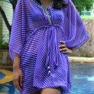 3012 Purple Stripe Print Chiffon Caftan Kaftan Kimono Tunic Cover-ups Top XL