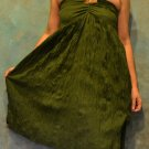 7008 Boho Dark Green Halter Buckle Summer Beach Sundress Top