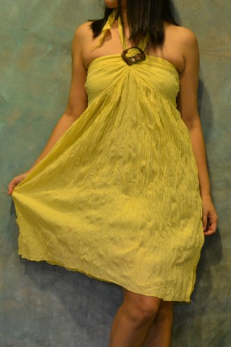 7009 Boho Yellow Halter Buckle Summer Beach Sundress Top