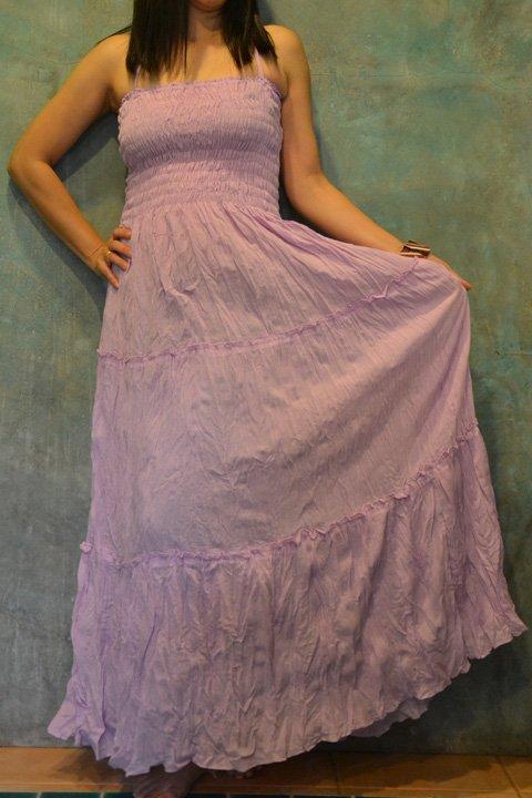 6002 Boho Purple Solid cotton Halter Smock Maxi Sundress